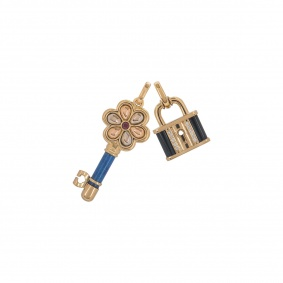 Yellow Gold Lock and Key Pendant